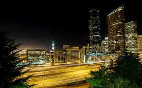 Обои дорога, небо, ночь, город, огни, Сиэтл, небоскрёбы