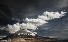 Обои природа, облака, снег, гора
