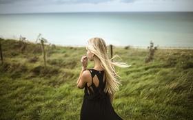 Картинка трава, ветер, спина, платье, черное, блондинка, вырез