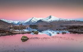 Обои камни, панорама, горы, небо, пейзаж, озеро