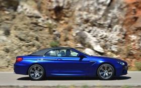 Обои Авто, Синий, BMW, Машина, Кабриолет, Вид сбоку, В Движении