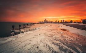 Обои закат, город, Чикаго
