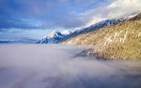 Картинка небо, горы, туман