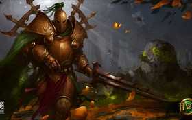 Обои Green Knight, броня, Heroes of Newerth, меч, Accursed
