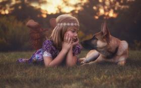 Картинка собака, девочка, Best Friends, Lorna Oxenham