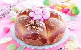 Обои яйца, хлеб, Пасха, cake, кулич, выпечка, Easter