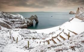 Картинка снег, скалы, море