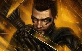 Обои лицо, мужчина, киборг, Square Enix, art, Deus Ex: Human Revolution, human revolution