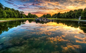 Картинка закат, облака, отражение, озеро, деревья
