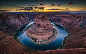 Обои США, река, Гранд Каньон, Аризона, Horseshoe bend, природа, Colorado