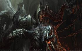 Обои игра, монстр, фэнтези, рога, fantasy, game wallpapers, Диабло 3