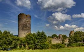 Обои облака, трава, небо, Burg Balduinstein Ruine, башня, крепость, развалины