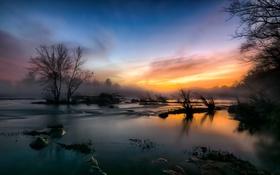 Картинка туман, река, закат