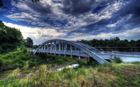 Обои Канзас, мост, hdr, Kansas, ручей, небо, облака
