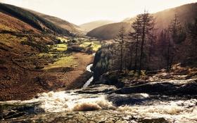 Картинка солнце, река, ручей, холмы, водопад, долина