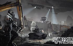 Обои ночь, стена, солдаты, развалины, Homefront: The Revolution