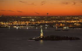 Обои небо, пейзаж, ночь, огни, остров, Нью-Йорк, США