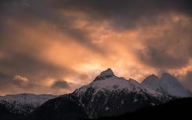 Картинка небо, снег, закат, горы, тучи