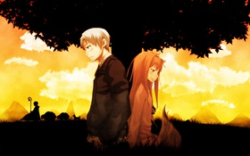 Картинка трава, девушка, дерево, аниме, пара, хвост, парень