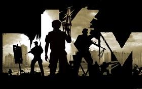 Обои небо, город, оружие, апокалипсис, минимализм, силуэт, солдат