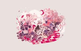 Картинка воздушные шары, Девушка, месяц, сердца, бантики