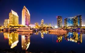 Картинка ночь, огни, отражение, дома, яхты, катера, гавань