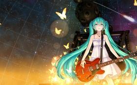 Картинка девушка, космос, звезды, бабочки, гитара, vocaloid, hatsune miku