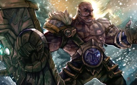 Обои усы, снег, мужик, League of Legends, Braum, усач, Heart of the Freljord