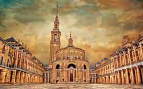 Картинка небо, облака, башня, дома, Испания, холст, университет