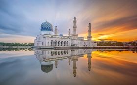 Картинка облака, отражение, утро, зеркало, Малайзия, Likas Бэй, города Кота-Кинабалу Мечеть
