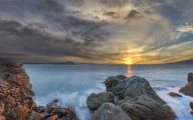 Обои море, небо, вода, солнце, облака, отражение, восход