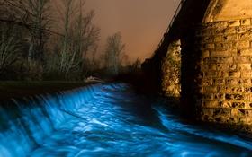 Обои свет, ночь, мост, огни, река, поток, опора