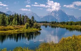 Картинка деревья, озеро, небо, горы, пейзаж