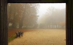 Обои осень, парк, скамья
