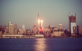 Обои отражение, Нью-Йорк, Эмпайр-стейт-билдинг, One World Trade Center, Соединенные Штаты, 1WTC, OWTC