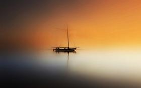 Картинка ночь, лодка, цвет