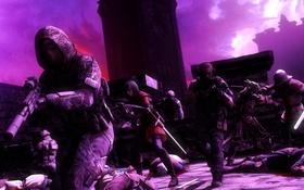 Обои спецназ, солдаты, night raid, замок, ночь, меч, арбалет