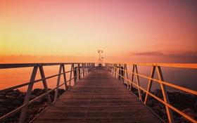 Обои закат, озеро, пирс, фонарный столб, розовый небо, sotnes