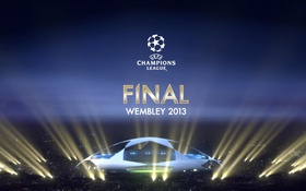 Обои ночь, обои, футбол, эмблема, финал, стадион, лига чемпионов