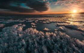 Обои ночь, озеро, лёд
