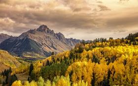 Картинка облака, деревья, горы, холмы, долины