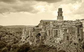 Картинка пейзаж, горы, скала, дома, Италия, Тоскана, Питильяно