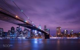 Картинка ночь, огни, США, бруклинский мост, Нью - Йорк