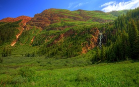 Картинка Ruby, горы, Colorado, водопад, каньон, скалы, США