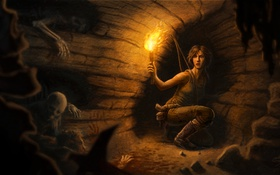 Обои девушка, факел, Tomb Raider, пищера, скилеты