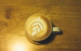 Обои свет, кофе, чашка, листья