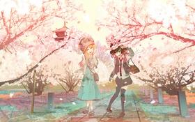 Картинка радость, парк, девушки, настроение, сакура, touhou, art