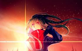 Обои небо, девушка, закат, аниме, арт, kagerou project, kido tsubomi