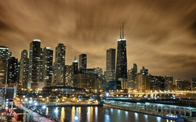 Обои ночь, city, огни, небоскребы, USA, америка, чикаго