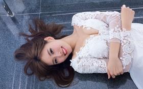 Картинка лицо, улыбка, модель, волосы, азиатка, прелесть